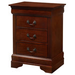 Glory Furniture - Louis Phillipe 3-Drawer Nightstand, Cherry - Assembled 3 Drawer Nightstand is Finished in Real Wood Veneers over Manufactured and Solid Wood. Drawers Move on Center Supported Metal Guides and Are Dovetailed Front and Back. Corner Blocks are utilized to Support Drawer Bottoms. Choose from a Variety of Colors. Additonal Case Pieces are Available as well as Matching Beds