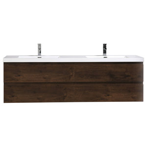 "Angela 83.4"" Contemporary Double Wall Mounted Vanity, Rosewood"