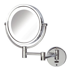 """Sharper Image 8.5"""" Battery LED Lighted Wall Mirror with 8X-1X Mag, Chrome"""