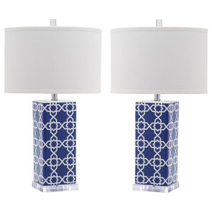 Leo Table Lamps, Navy, Set of 2
