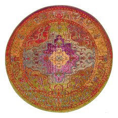Unique Loom Multicolored Michaelangelo Vita 4' 0 x 4' 0 Round Rug