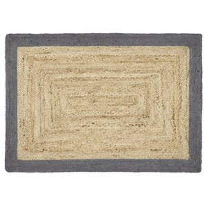 Origins Jute Jute Border Grey Rectangular Rug, 80x150 cm