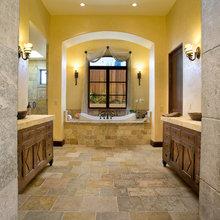 Modern Bathrooms meet oldworld Limestone