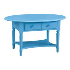 Leick Home   Regatta Blue Coastal Oval Coffee Table W/Shelf   Coffee Tables