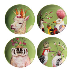Paperproducts Design - Frolicking Friends 7 Inch Plates, Set of 4 Bone china by Vicki Sawyer - Decorative Plates