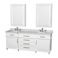 """Berkeley 80"""" Double Vanity, Carrera Marble Top, Round Sink, 24"""" Medicine Cabinet"""
