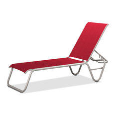 Gardenella Sling 4-Position Armless Chaise, Textured White, Red