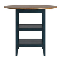 Finn 2 Side Drop Leaf Round Counter Height Table, Antique Denim