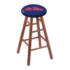 Oak Counter Stool Medium Finish With Ole' Miss Seat 24-inch
