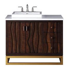 "42"" Catalanes Carved Wood Modern Bath Vanity"