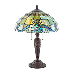 """20"""" Vivienne Baroque Style Stained Glass Green Table Lamp"""