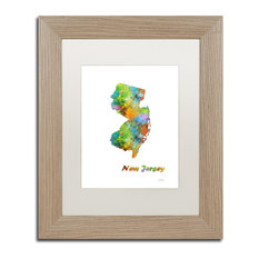 "Watson 'New Hampshire State Map-1' Art, Birch Frame, 11""x14"", White Matte"