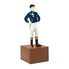 Sculpture Statue Jockey in Riding Colors Large Cast Resin Ha