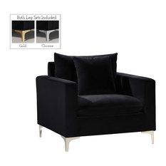 Naomi Velvet Chair, Gold and Chrome Leg Set, Black