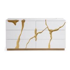 Modrest Aspen Modern White And Gold Dresser