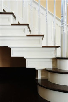 If You Refer To The Attached Image, Our Staircase Has Darker Stained Stair  Treads With White Risers (similar To Your Home). The Decorative Moldings  Add ...