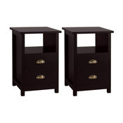 Bedside, Espresso MDF With Open Shelf and 2 Storage Drawers, Set of 2