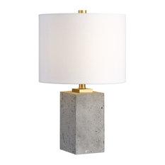 Concrete Block Cube Elegant Industrial Table Lamp, Loft Gray Gold