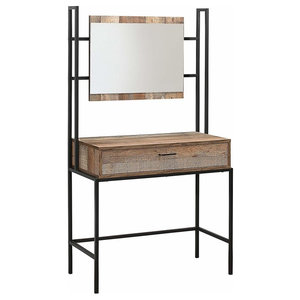 Dressing Table With Mirror and Drawer for Additional Storage, Rustic Design