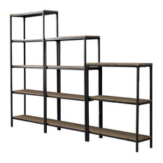 Gray Wood Black Metal 3, 4 5 Tier Shelf Storage Home Office Bookcase Set
