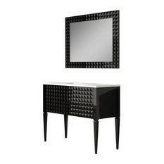 Diamond Bathroom Vanity And Wall Mirror Black Gloss 40-inch