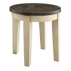 Asita Home Oval End Table Limestone Marble Top Antique White Side Tables