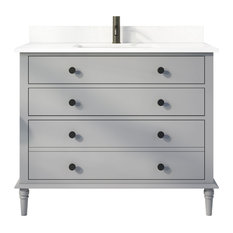 """Flynn 42"""" Vanity with Power Bar and Drawer Organizer, Oxford Gray"""