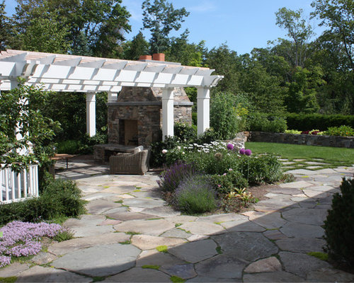 Pergola with flagstone patio ideas, pictures, remodel and decor