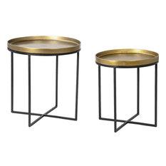DOVETAIL LUMA Side Table Antique Brass Set 2 Aluminum Iron