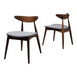 GDF Studio Issaic Design Wood Dining Chairs, Charcoal/Walnut, Set of 2