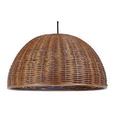 Handwoven Wicker Dome Pendant Light, Diameter 19.5 x 17.5 inch, Rustic Brown