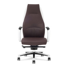 Wrigley Genuine Leather Aluminum Base Chair, Dark Brown With White Accent