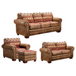 American Furniture Classics - Sierra Lodge, 4 Piece Set With Sleeper - Take a trip to the mountains without leaving your living room. The Sierra Lodge 4-Piece Sleeper Sofa Set brings cozy lodge-style comfort to your home, with its supple upholstery and mountain-motif tapestry details. Each of the four pieces is finished with nailhead accents and wood feet, bringing a classic touch to an otherwise rustic look. And when you're hosting guests, pull out the mattress from the sleeper sofa for a comfortable spot to rest.