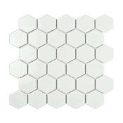 "11.06""x12.8"" Porcelain Mosaic Tile Barcelona Glossy Bright White, Set of 10"