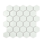 "11.06""x12.8"" Porcelain Mosaic Tile Barcelona Glossy Bright White, Set of 10"