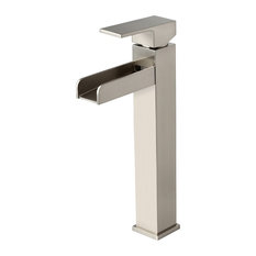 Contemporary Single Handle Waterfall Spout Bathroom Vessel Sink Faucet, Brushed