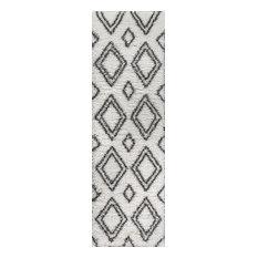 Beni Moroccan Style Diamond Shag Ivory/Dark Gray 2 ft. x 8 ft. Runner Rug