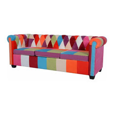 vidaXL Chesterfield 3-seater Sofa Set Multicolor Fabric Couch Home Seating