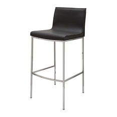 Colter Leather Stool, Dark Gray, Counter Height