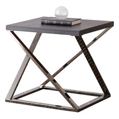 Steve Silver Aegean Square End Table In Black Nickel