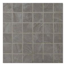 "12""x12"", Pietra Pearl Gray Porcelain Polished Mosaic Tile"