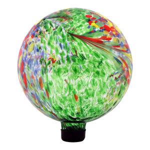 Sunnydaze Green Artistic Glass Outdoor Garden Gazing Ball Globe, 10