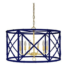 Worlds Away, Zia Bamboo Chandelier, Navy With Gold Cluster