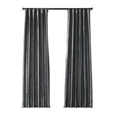"Graphite FauxSilk Taffeta Curtain Single Panel, 50""x108"""