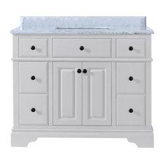 Ari Kitchen And Bath   Chela Bathroom Vanity, White, 42  42 Inch Bathroom Vanity