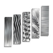 5-Piece Metal Wall Art Sculpture Accent by Jon Allen, Silver