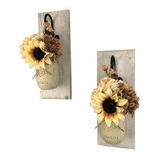 Toasted Marshmallow Mason Jar Wall Sconces Floral Arrangements, Set of 2