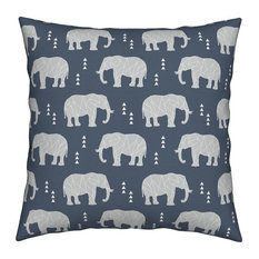 Elephant Geometric Hipster Geo Blue Grey Gray Throw Pillow Velvet