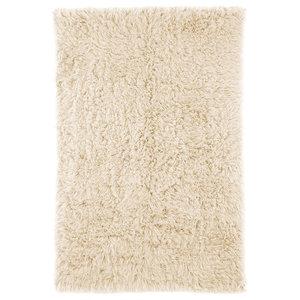 Handwoven Flokati Wool Rug, Natural, 5'x7'