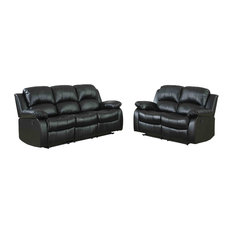 2-Piece Ciabola Set Double Reclining Sofa and Love Seat, Black Leather